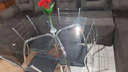 Mesa de vidro com 4 cadeiras cromadas promoção