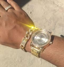 Kit icre cravejado, prateado, dourado, relógio, pulseira, corrente