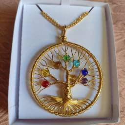 Semi jóia colar árvore da vida