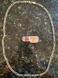 Cordão de prata 925, dedeira de prata 925 e anel de prata 950