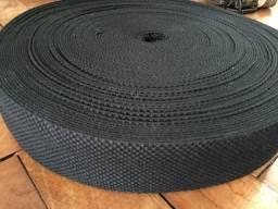Fita faixa algodão preta 50mm x 40 metros
