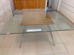 Mesa em madeira marfim 1,40x1,40cm