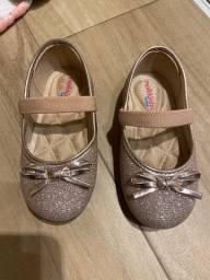 Sapato social dourado rosa Molekinha bebê