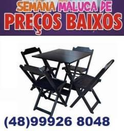 Título do anúncio: Mesas E Cadeiras Dobráveis De Madeira Nobre
