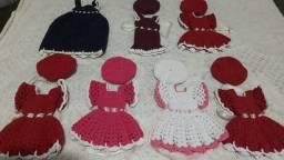 Kit 7 Roupinhas de Crochê para Boneca Barbie