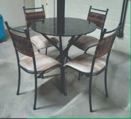 Mesa 4 cadeira tubular junco promoção