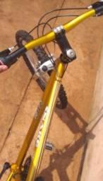 Bike aro 26 dourada amortecedor a mola regulável