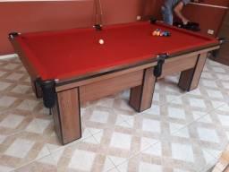 Mesa de Bilhar e Jantar   Mesa Imbuia   Tecido Vermelho   Modelo: STTN5657