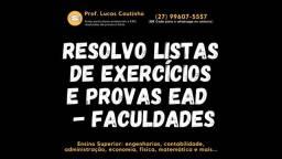 Garanta sua nota! Resoluções Online de Listas de Exercícios de Engenharias e Direito!