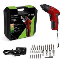 Kit Parafusadeira Elétrica 4,8v Maleta 44 Acessórios Vermelha Multilaser
