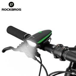 Farol Led Recarregável Com Buzina 140db Sinalizador Bike Bicicleta