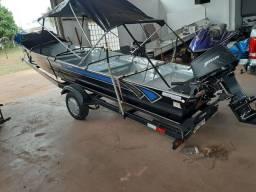 Conjunto Barco Fluvimar Carreta Diamante Motor Popa Mercury