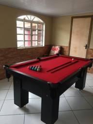 Mesa de Bilhar Charme Preta Tx Tecido Vermelho Modelo PLO6520