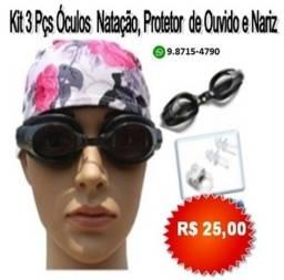 Kit 3 Pçs Óculos De Natação, Protetor De Ouvido E Protetor De Nariz Adulto