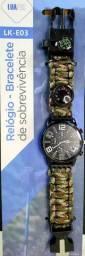 Relógio/ Bracelete tático de sobrevivência