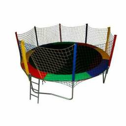 Pulapula cama elástica 3,05m completa colorida com escada - promoção