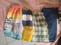 Shorts e camisetas