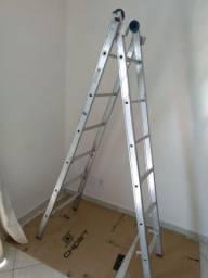 Escada Extensível 3 em 1 2 x 6 Degraus em Alumínio - MOR-5202<br><br>