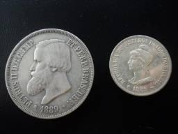 2 Moedas de Prata do Brasil de 1889