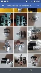 Motor de arranque partida e alternador