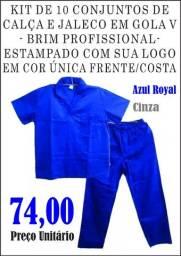 Kit de 10 Conjuntos de Brim Calça/ Camisa Manga Longa Uniforme Trabalho