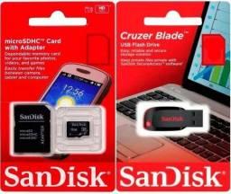 Pen Drive e Cartão de Memória Sandisk 8gb 16gb 32gb 64gb Original Novo Lacrado