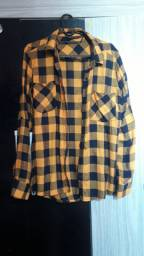 Blusa xadrez amarelo com preto pp