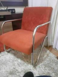 Poltrona suede para uso (tipo decorativa) cor vermelha