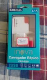 Carregador turbo universal tipo C com 2 entradas USB + cabo USB