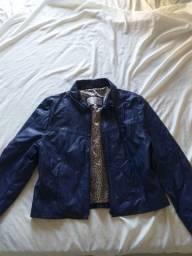 Jaqueta G, em couro, feminina, azul, veste 38 ao 42