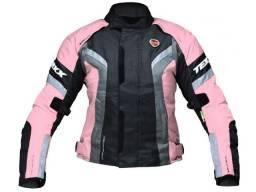 Jaqueta motociclista (fem) Texx Rosa/preto seminova