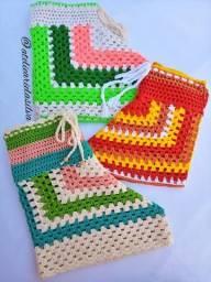 Artesanal Short Feminino Colors em Crochê Tamanhos P, M, G