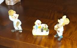 Bibelôs: trio de palhacinhos de porcelana
