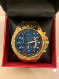 Relógio Technos dourado na caixa e com nota fiscal