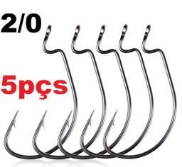 Anzol Offset 2/0 Para Iscas de Silicone 05pçs