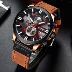 Relógio Masculino Curren Original Cronógrafo Funcional Pulseira De Couro.