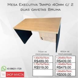 Mesa de Escritório Tampo40mm Bruma c/ 2 gavetas / Nova / NFE