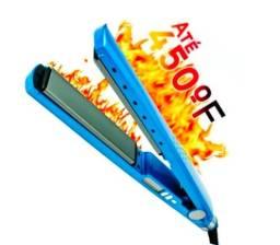 Prancha de cabelo Profissional Titanium azul com placas de titânio 110V/220V