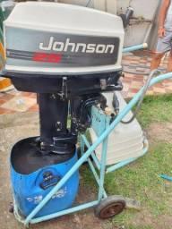 Motor de barca johnson 25hp + tanque de 40litros + rabicho + carrinho para transportar