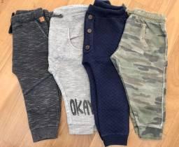 4 calças tamanho 12 a 18 meses