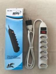 Filtro de Linha 6Tomadas Bivolt Branco - Protetor P/ Eletrônicos