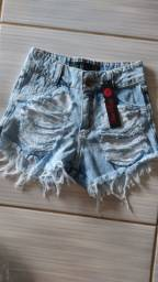 Shorts jeans luxo feminino cintura alta hot pants destroyed amassadinho desfiado e rasgado