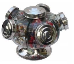 Baleiro Giratório Vidro Alumínio 22cm 5 Gomos 1.250 ml