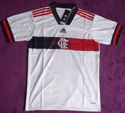 Camisa do Flamengo branca (disponível: G e GG)
