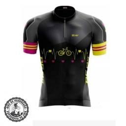 Camisa feminina Pro Tour ciclismo bike bicicleta dryfit manga curta