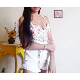 Macaquinho bordado floral branco g