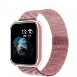 Smartwatch 2020 com pulseira de aço IOS Android proteção ip67 lindo relógio