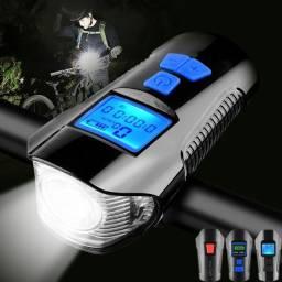 Velocimetro Farol Buzina LCD Recarregavel resistente a agua Bike Bicicleta Andometro
