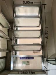 Janela Basculante De Alumínio C/ Vidro Canelado - 1,45x0,65m