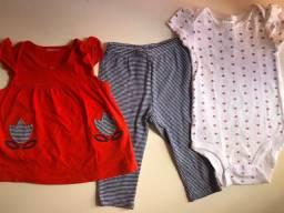 Trio de roupinhas Carters (para bebês de 6 a 9 meses) - blusa, calça e body